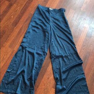 Nasty Gal Wide Leg Blue Silky Pants